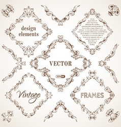 set of vintage sepia frames vector image vector image