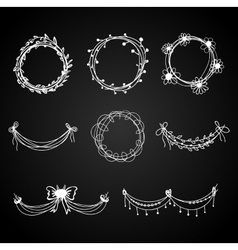Set of white hand-drawn floral design elements vector image