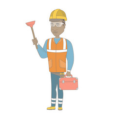 african plumber holding plunger and tool box vector image vector image