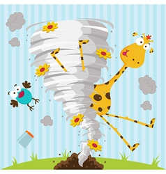 giraffe bird and tornado vector image vector image