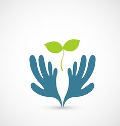 Hands and plant vector image vector image