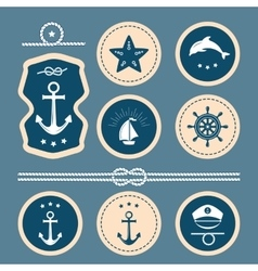 Nautical decoration set vector image