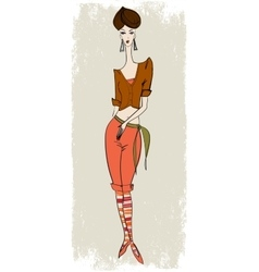 stylish girl in breeches vector image