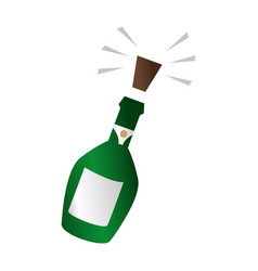 Champagne bottle with cork expelled vector