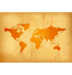map of the world on the old paper vector image vector image