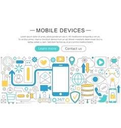modern line flat design Mobile devices vector image vector image
