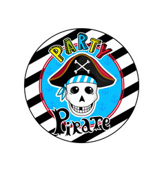 pirate party sign with skull in cocked hat icon vector image