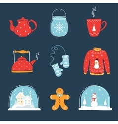Set of Christmas and Winter Holidays Design vector image vector image