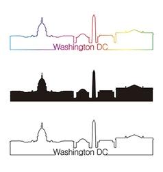 Washington DC skyline linear style with rainbow vector image vector image