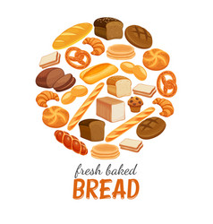 bread products round poster vector image