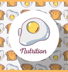 Fried egg protein with bread background design vector