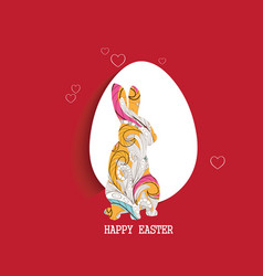 happy easter egg and doodle bunny greeting card vector image vector image