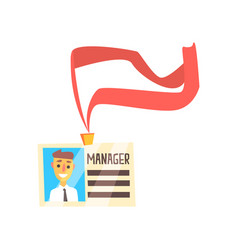 Manager id card with photo and ribbon colorful vector
