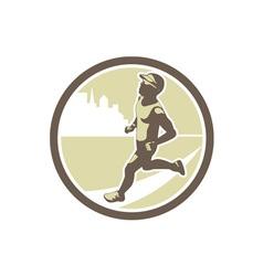 Triathlete Running Side Circle Retro vector image vector image