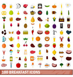 100 breakfast icons set flat style vector image