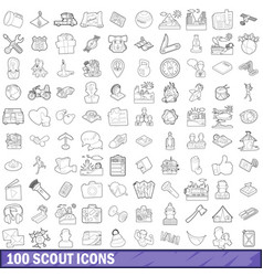 100 scout icons set outline style vector