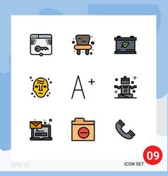 9 universal filledline flat color signs symbols vector