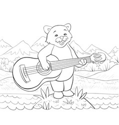 a children coloring bookpage a cartoon playing vector image