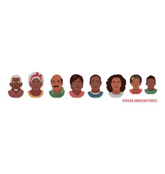 african american people head avatar set different vector image