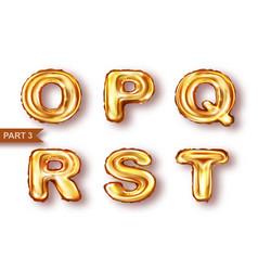 alphabet golden balloons realistic vector image