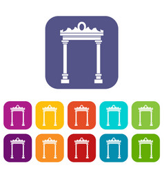 arch icons set vector image
