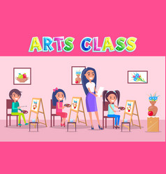 Arts class school time poster with smiling people vector