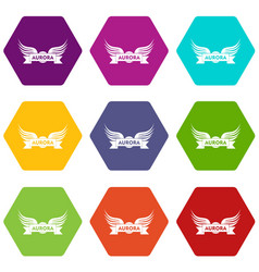 aurora wing icons set 9 vector image