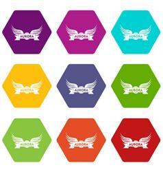 Aurora wing icons set 9 vector