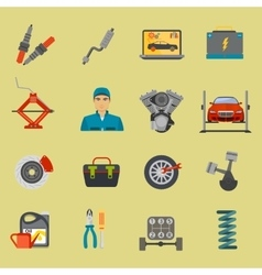 Auto mechanic car repair service flat icon set vector