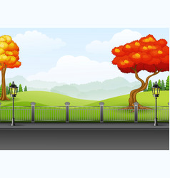 Autumn season with the road landscape background vector