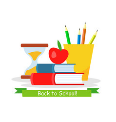 Back to school web banner flat template vector