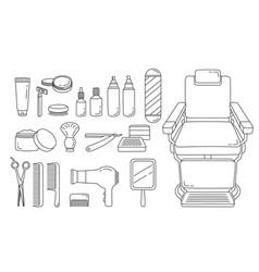 Barber shop equipments set outline vector