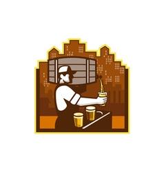 Bartender Pouring Beer Keg Cityscape Retro vector