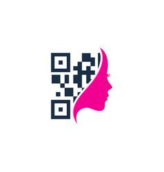 Beauty barcode logo icon design vector