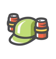 Beer helmet with drink icon cartoon vector