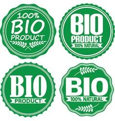 Bio product 100 natural green signs set vector