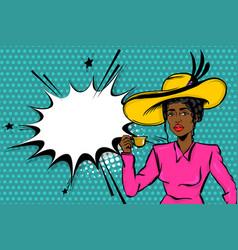 Black afro woman pop art drink tea vector