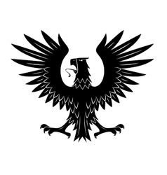Black heraldic eagle with spread wings symbol vector image