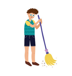 boy sweeping floor a young man doing house vector image