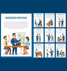 Business meeting of team negotiation poster set vector