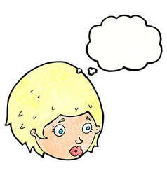 Cartoon girl with concerned expression with vector