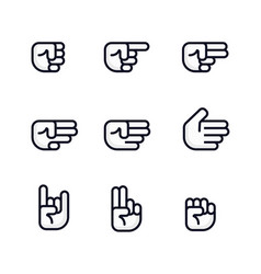 cartoon hands set different gestures of fist vector image