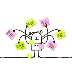 Cartoon woman multitasking with sticky notes vector