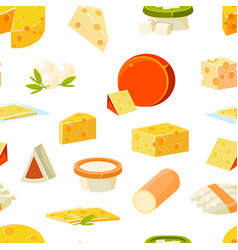cheese seamless pattern with natural dairy vector image