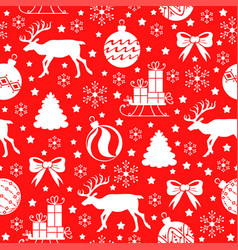 Christmas pattern seamless with deer fir and gifts vector