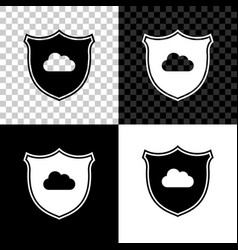 cloud and shield with check mark icon on black vector image