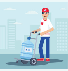Courier delivering water flat vector