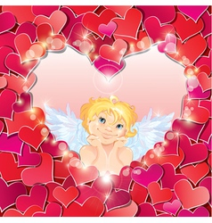 Cute angel in the heart shape frame vector image