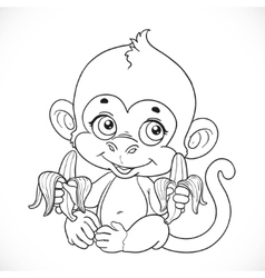 Cute baby monkey with banana outlined isolated on vector