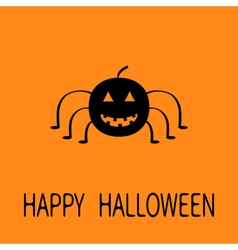 Cute cartoon black smiling pumpkin spider insect vector